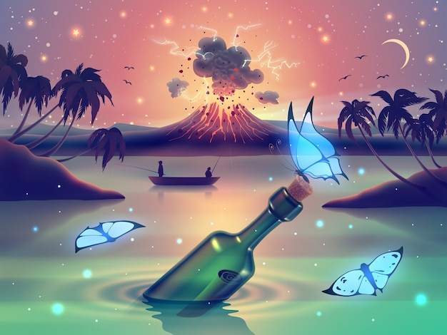 Fantasy river landscape with magic butterflies over volcano erupting