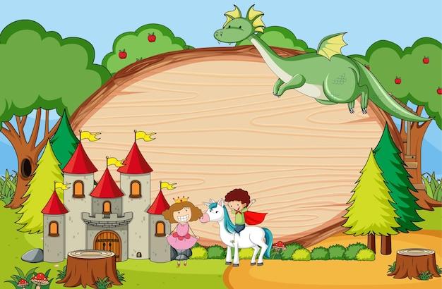 Scena di fantasia con tavola di legno vuota di forma ovale con personaggi dei cartoni animati di doodle di bambini