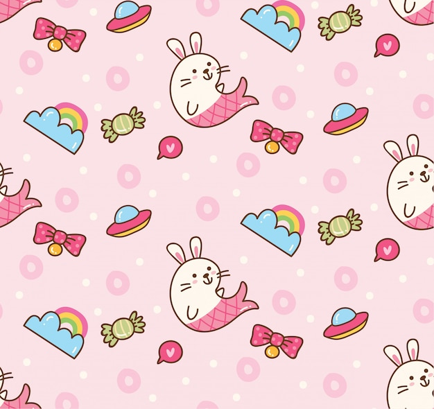 Fantasy seamless background in kawaii style