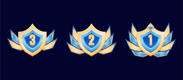 Fantasy shield golden diamond rank badge medal with wings for gui asset elements