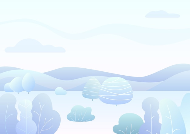 Fantasy simple winter forest landscape with cartoon curved trees, bushes trendy gradient color