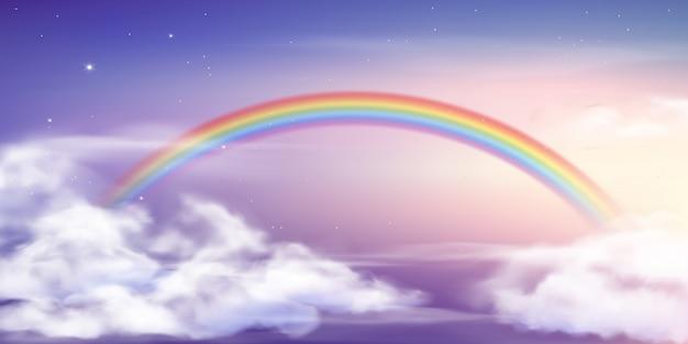 Фэнтези небо радуга. цвета радуги сказочных небес, волшебный пейзаж и иллюстрация неба мечты
