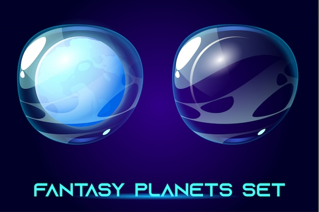 Fantasy space planets set for ui galaxy game.
