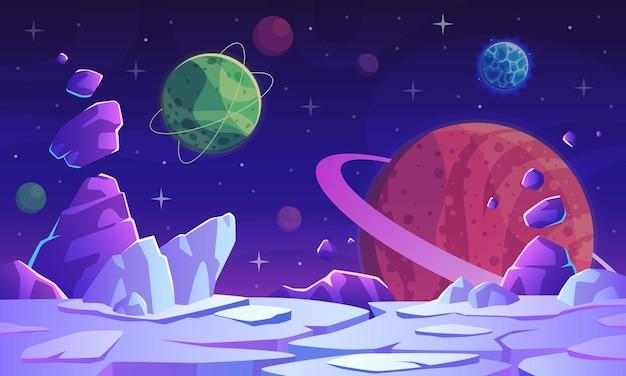 ファンタジー宇宙シーン。カラフルな鮮やかな惑星、クレーター、星、彗星の幻想的な謎の世界、ゲームベクトルの未来的な背景を持つ地球外の風景