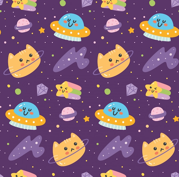 Fantasy space seamless pattern with cat head
