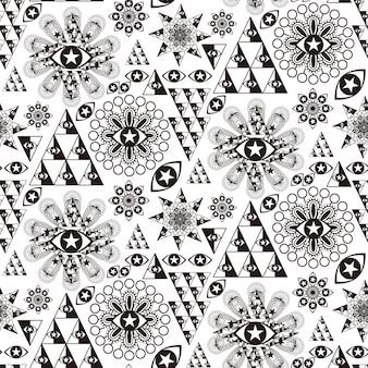 黒と白のファンタジー特別な幾何学的なシームレスパターン
