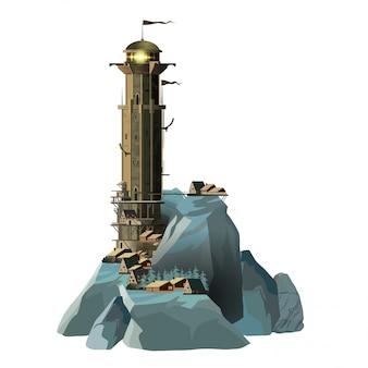 青い岩の島と小さな村の近くにあるファンタジー風の壮大な軍事灯台。巨大な灯台と白い背景の上のその足元の小さな家