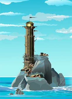 Маяк в стиле фэнтези на синем скалистом острове и недалеко от небольшой деревни.