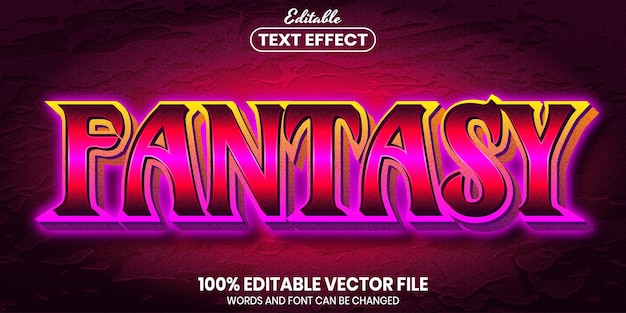 Fantasy text, font style editable text effect
