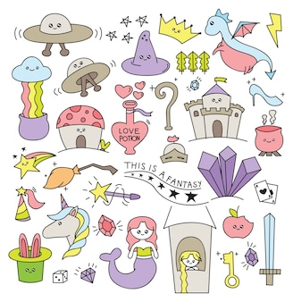 Fantasy things in doodle style vector illustration