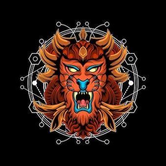 Fantasy tiger sacred geometry