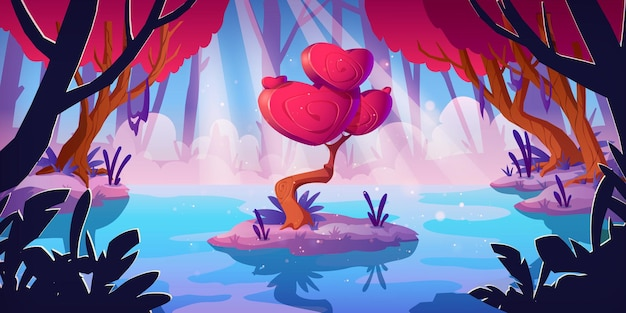ハート型のファンタジーツリーは、森の沼の王冠を形作ります。魔法の赤いキノコ、珍しいロマンチックな木とベクトル漫画の風景。おとぎ話のゲームの背景と愛の概念