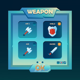 Fantasy weapon selection pop up interface
