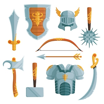 Fantasy weapons in cartoon style