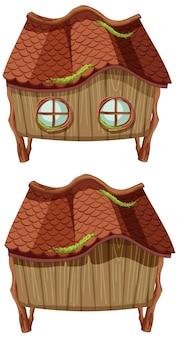 白い背景の上のファンタジー木造小屋