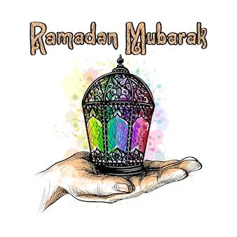 Fanus lantern. muslim holiday of the holy month of ramadan kareem. lantern in the palm of your hand.  illustration