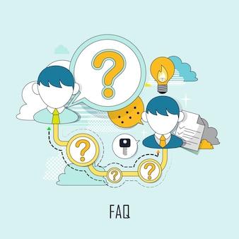 Faq concept: customer service in flat line style