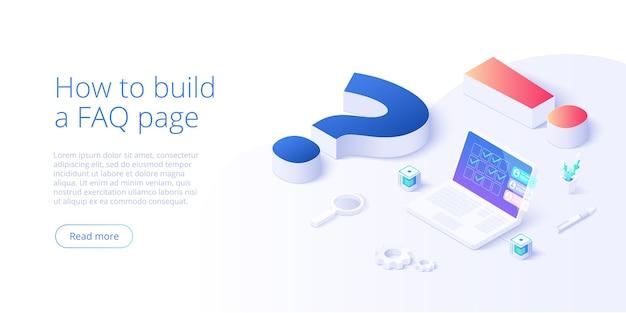 等角投影図のfaqの概念。よくある質問の背景と質問と感嘆符とラップトップ。 webバナーレイアウトテンプレート。