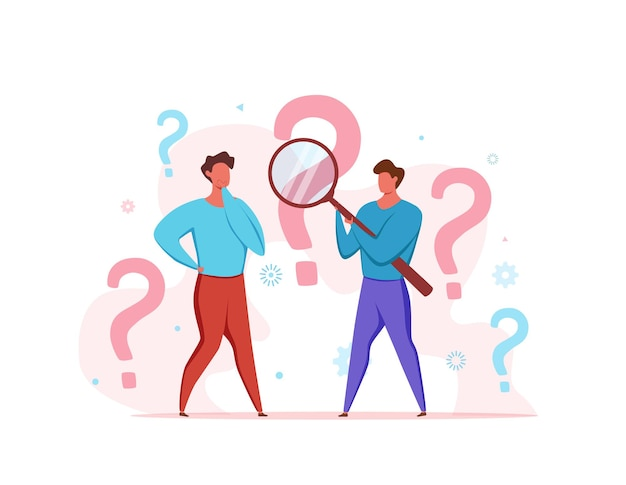 Faq concept of men looking through magnifying glass at interrogation point and question mark.