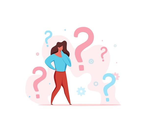 Часто задаваемые вопросы о мужчинах, смотрящих через увеличительное стекло на пункт допроса и вопросительный знак.