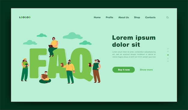 Faq flat  illustration. tiny users near giant letters asking questions and getting answers, instructions for problem solution. help and useful information for users. online support concept landing page