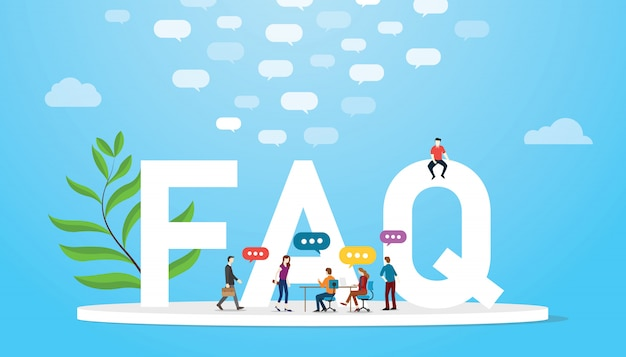 Faq frequently asked question concept with team people and big words