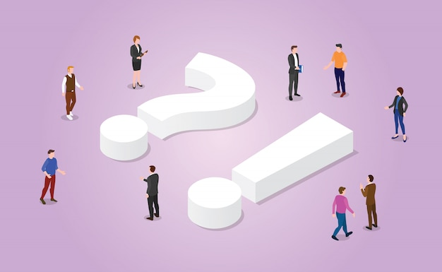 Faq frequently asked questions with team people and sign symbol with modern isometric style