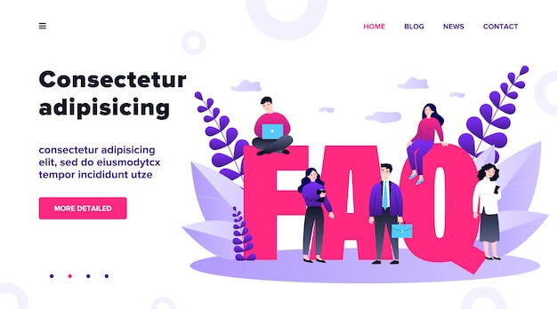 Faq giant letters. frequently asked questions page template. users searching useful information, instruction for problem solving.  illustration for help, support, assistance concept