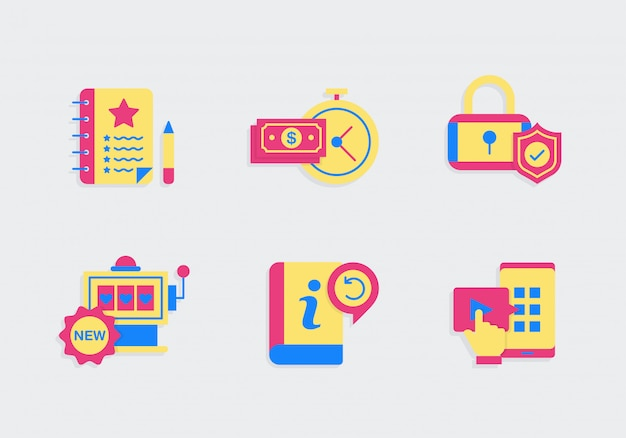 Faq icon set with colors