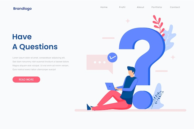 Faq illustration landing page concept.