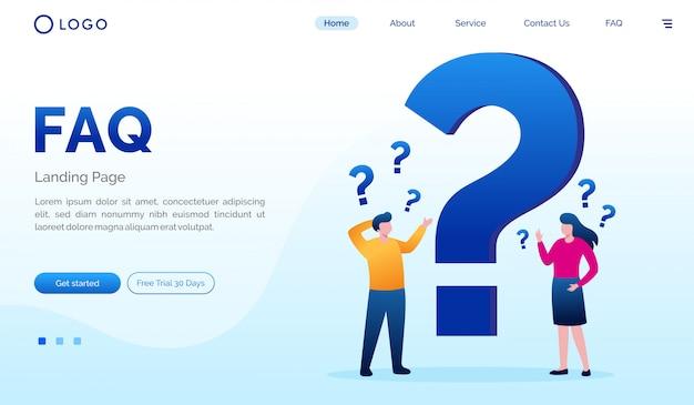 Faq landing page website flat  template