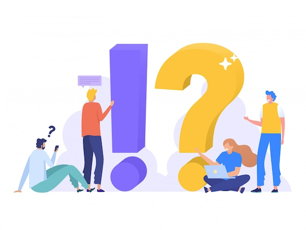 Faq and qna  ilustration , people characters standing next to question marks. woman and man  online support center. flat  illustration,  landing page, template, ui, web