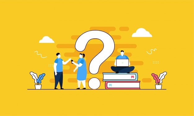 Faq, question mark with people in flat style