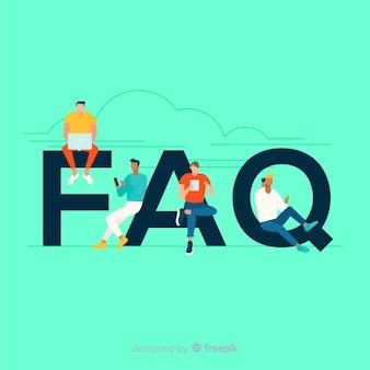 Faq концепция плоский фон