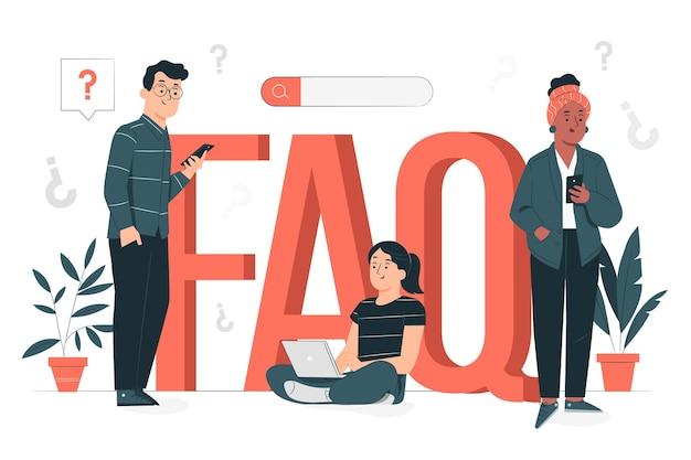 Illustrazione di concetto di faq