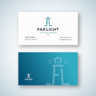 Far light abstract vector sign or logo and business card template