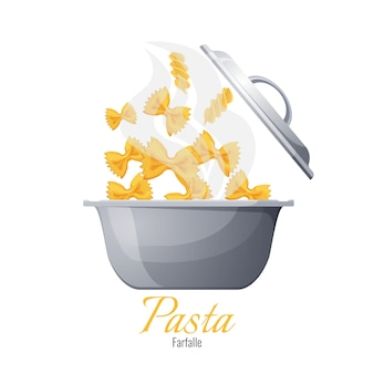 Farfalle and fusilli italian pasta in pot with cover