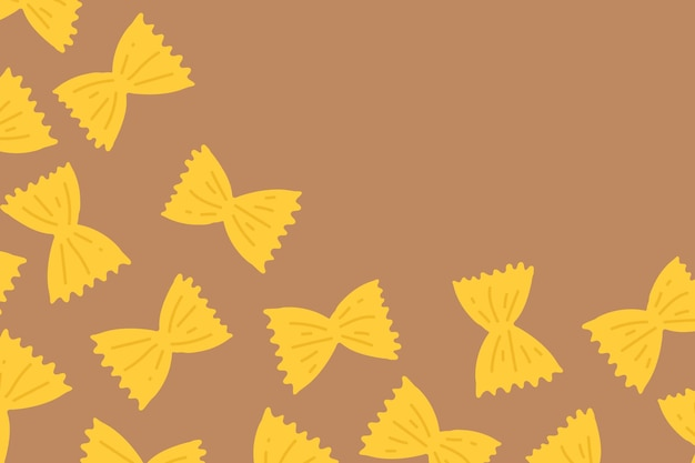 Farfalle pasta pattern background vector in brown bow shape border