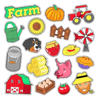 Farm agricultural elements set with farmer, harvest and animals for stickers, prints. vector doodle