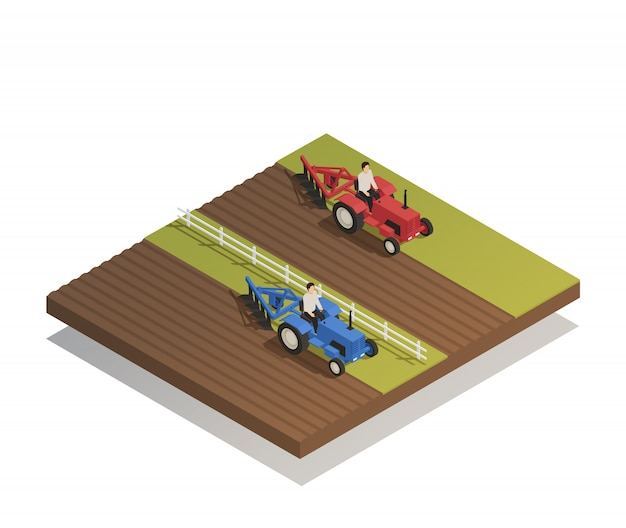 Farm agricultural machinery isometric composition