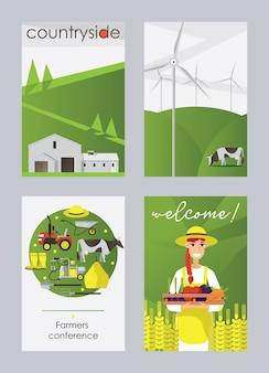 分離された農場と田舎の平らな垂直カードまたはポスターセット