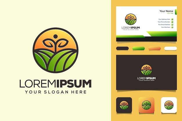 농장과 정원 로고 디자인 명함