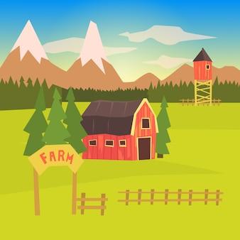 농장 및 주변 풍경 다채로운 스티커
