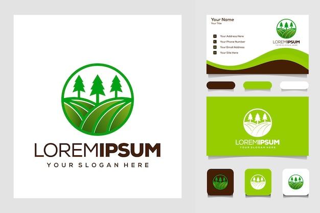 농장과 나무 로고 디자인 명함