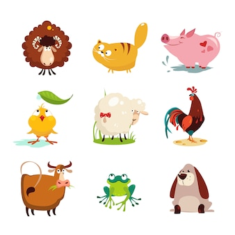 Farm animal and bird collection set