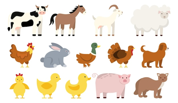 Farm animal and bird set collection of country animal duck and chicken