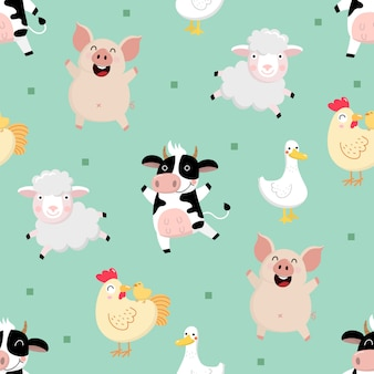 Farm animal cartoon character seamless pattern