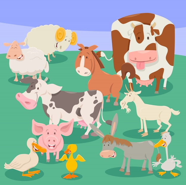 Farm animal characters cartoon illustration