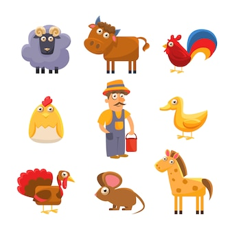 Farm animal collection. colourful illustration set