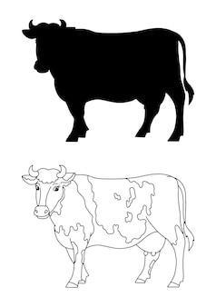 子供のための農場の動物の牛の塗り絵の本のページ黒いシルエット
